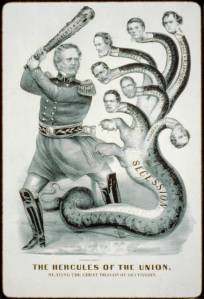 1861 tribute to commander of Union forces Gen. Winfield Scott, shown as the mythical Hercules slaying the many-headed dragon or hydra, here symbolizing the secession of the Confederate states.