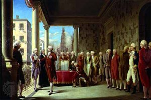 Oil painting of George Washington's inauguration as the first President of the United States painted circa 1899