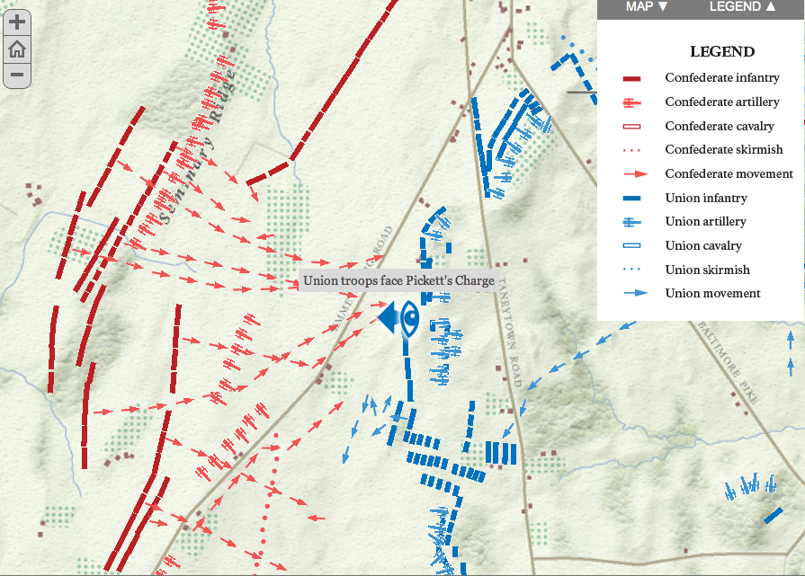 Interactive Map of the Battle of Gettysburg | Legal Legacy on seminary ridge, george pickett, pickett's charge, lewis addison armistead, gettysburg national cemetery, gettysburg college map, battle of gettysburg, third day cavalry battles, manassas battlefield park map, little round top map, knights of the golden circle map, day-one gettysburg map, battle of gettysburg, fort necessity national battlefield map, eastern shore of maryland map, battle of gettysburg, second day, cemetery hill, july 1 gettysburg map, devil's den, cemetery ridge map, gettysburg campaign, historic gettysburg map, gettysburg cyclorama, gettysburg wheatfield map, eternal light peace memorial, 1st day gettysburg map, barlow knoll gettysburg map, civil war 1863 gettysburg map, battle of gettysburg, first day, gettysburg campaign map, big round top, cemetery ridge, gettysburg town map, richmond national battlefield park map, lee's retreat from gettysburg map, little round top, pickett's charge at gettysburg map, bull run map, gettysburg address, gettysburg national tower, gettysburg museum and visitor center,