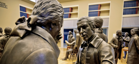 A glimpse of a few of the life-size, bronze statues of the 42 attendees of the Constitutional Convention on Sept. 16   (including the three who did not sign) on display at the National Constitution Center in Philadelphia