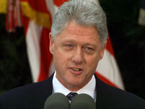 Clinton addressing the nation on February 12, 1999