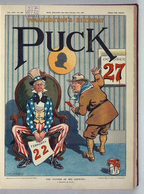 Parody of Theodore Roosevelt's concern for his legacy by Puck Magazine, February 17, 1909