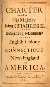 A copy of the original charter granted to the colony of Connecticut by Charles II in 1684 attached to a copy of the Acts and Laws of the Colony in 1750