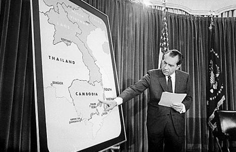 Nixon and a map of the Vietnam region
