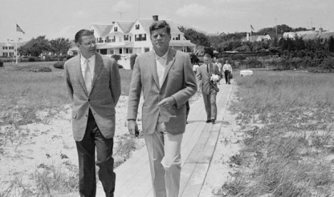 McNamara walking with President John Kennedy on July 8, 1961, in Hyannis Port