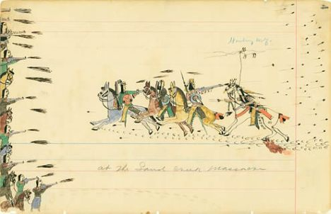 Depiction of the Sand Creek Massacre by Cheyenne eyewitness and artist Howling Wolf circa 1875
