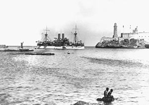 USS Maine entering Havana harbor on January 25, 1898