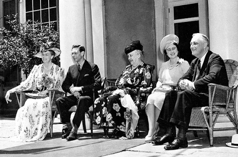 First Lady Eleanor Roosevelt, King George VI, Mrs. Sara Roosevelt (the mother of the FDR), Queen Elizabeth, and FDR during a visit to Hyde Park, NY, June 10, 1939