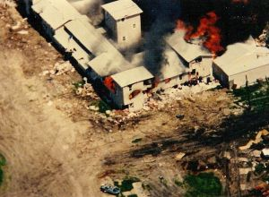 The fire spreading at the compound on April 19, 1993