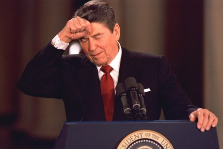 President Ronald Reagan shortly after the Iran-contra scandal engulfed his administration in November 1986. (Credit: AP/Dennis Cook)