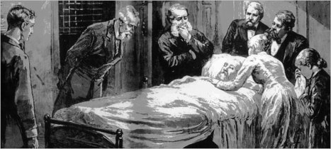 Garfield on his deathbed.  Photo from National Museum of Health and Medicine, Armed Forces Institute of Pathology