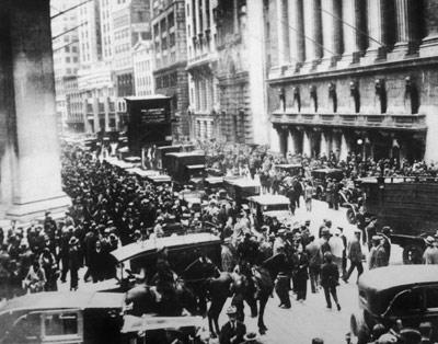 Panicked New Yorkers flood Wall Street during the stock market crash on Oct. 29, 1929