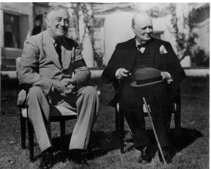 Roosevelt and Churchill in Casablanca in 1943