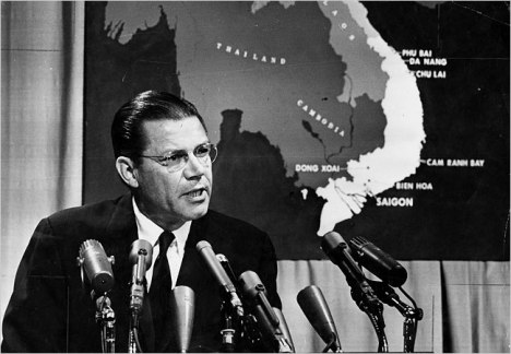Robert McNamara with Vietnam appropriately at his side