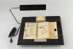 The Votomatic vote recorder, a punch card voting machine originally developed in the mid 1960s.