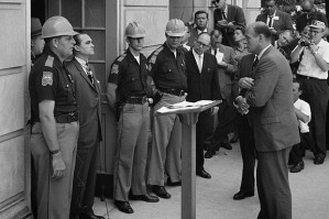 Governor Wallace at left, blocking the door