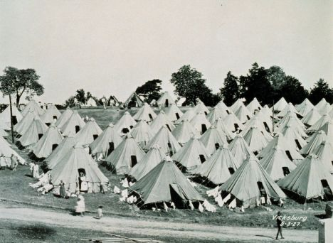 A refugee camp at Vicksburg, Mississippi following The Great Mississippi Flood of 1927.