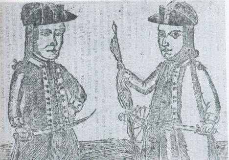 Portraits of rebellion leaders Daniel Shays and Job Shattuck from Bickerstaff's Boston Almanack of 1787