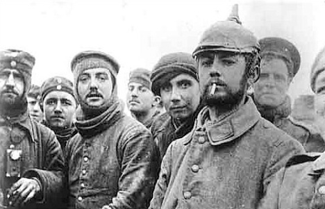 British troops from London with Saxons of the 104th and 106th Regiments of the Imperial German Army during the Christmas Truce.