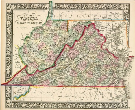 Map of Virginia and West Virginia in 1863