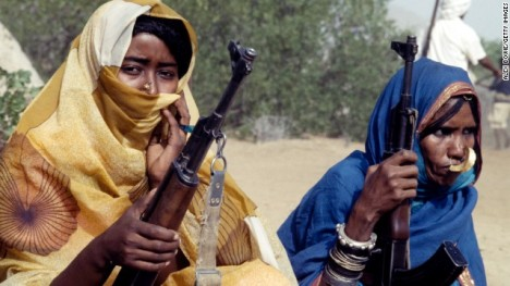 Moslem fighters of the Eritrean People's Liberation Front with AK-47s