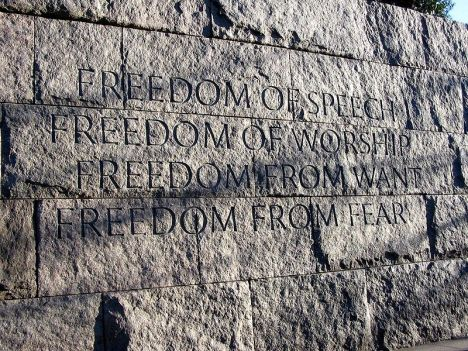 "Franklin Delano Roosevelt's ""Four Freedoms"" at the Franklin Delano Roosevelt Memorial in Washington D.C."