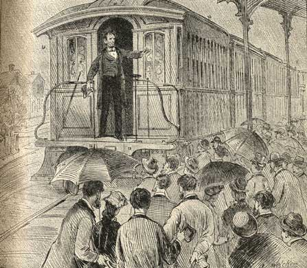 Lincoln bidding farewell at Springfield; artist unknown;  published in 1886