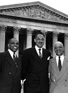 From left, attorneys George E.C. Hayes, Thurgood Marshall, and James Nabrit Jr. celebrate their victory in the Brown case on May 17, 1954