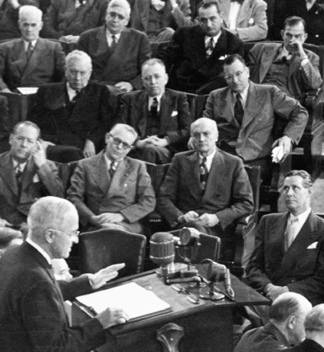 President Truman, in his final State of the Union message, in which he announced the development of the hydrogen bomb.
