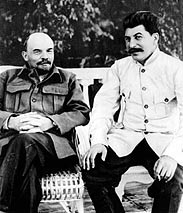 Stalin (right) with Lenin in 1922