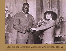 Jack Johnson on his wedding day to Lucille Cameron
