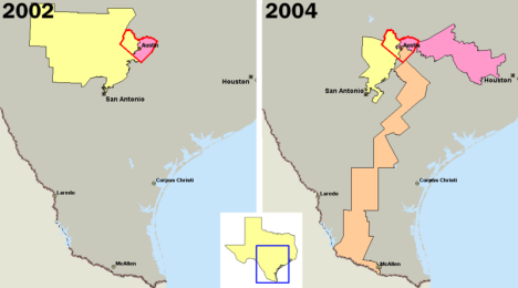 U.S. congressional districts covering Travis County, Texas (outlined in red) in 2002, left, and 2004. In 2003, Republicans in the Texas legislature redistricted the state, diluting the voting power of the heavily Democratic county by parceling its residents out to more Republican districts.