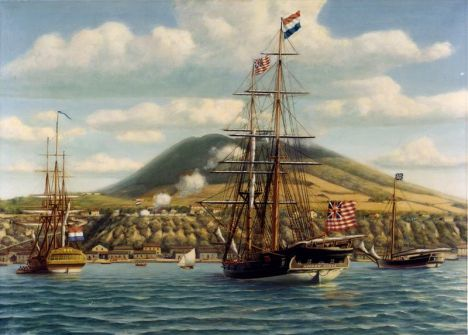 First official salute to the American flag on board the Andrea Doria in a foreign port, the Dutch fort at St. Eustatius, West Indies, 16 November 1776.