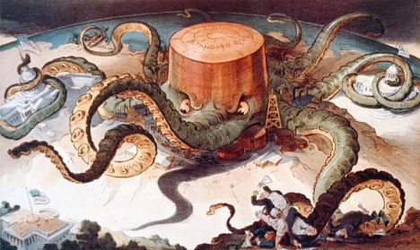 1904 Political cartoon showing a Standard Oil tank as an octopus with many tentacles wrapped around the steel, copper, and shipping industries, as well as a state house, the U.S. Capitol, and one tentacle reaching for the White House.