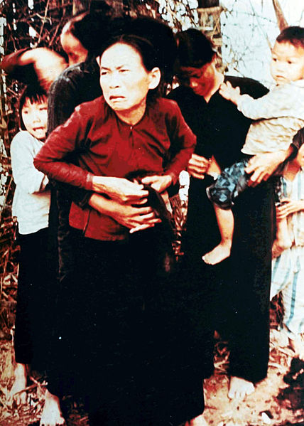 Vietnamese women and children in Mỹ Lai before being killed in the massacre, March 16, 1968.