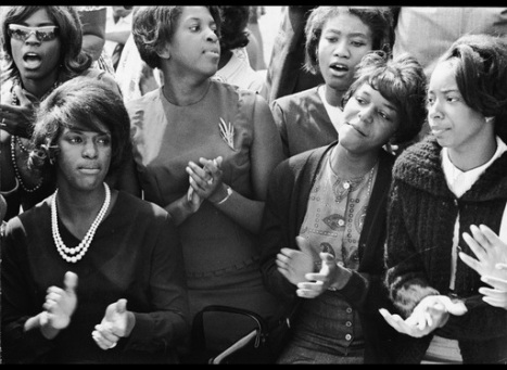 Young Women Singing At The March On Washington