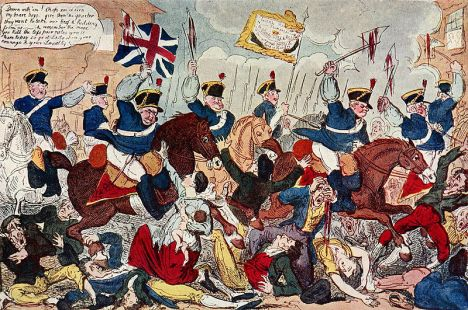 1819 depiction of the charge of the Manchester Yeomanry on the unarmed populace in St. Peter's Fields, Manchester.