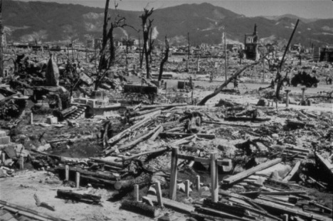 Aftermath of the explosion of an atomic bomb on Hiroshima, Japan, Aug. 6, 1945.