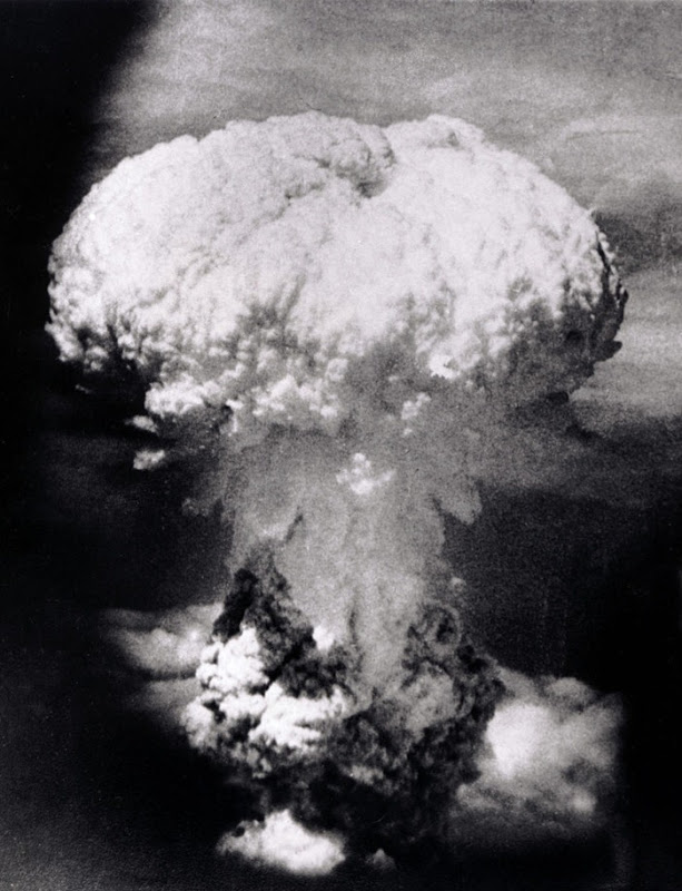 Atomic Mushroom Cloud Over The City Of Nagasaki Japan After Bomb Was