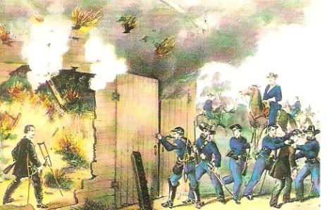 Depiction of Booth in the burning barn at Garrett's farm