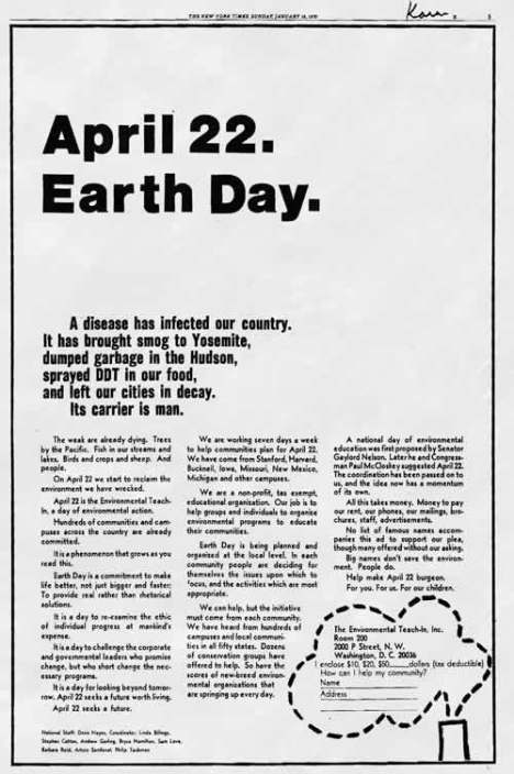 Fundraising and awareness ad for Earth Day published in the New York Times on January 18, 1970.