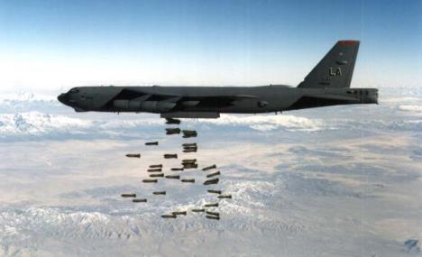 A U.S. Air Force B-52 Stratofortress heavy bomber drops bombs in this undated file photo.