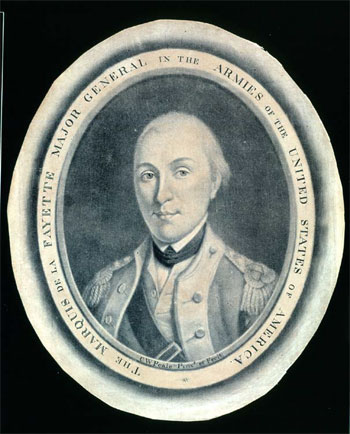 The Marquis de LaFayette Major General in the Armies of the United States of America, Charles Willson Peale, mezzotint, c. 1787