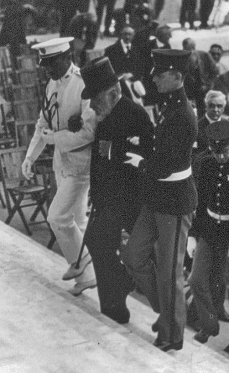 Robert Lincoln, center, attending the ceremony