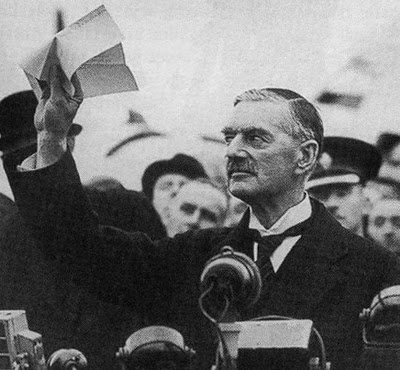 Neville Chamberlain after meeting with Hitler in Munich