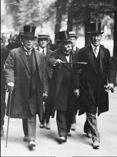 David Lloyd George, French prime minister Georges Clemenceau and US president Woodrow Wilson on their way to the Versailles Peace Conference, June 1919.