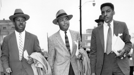 From left, the Rev. Ralph Abernathy, the Rev. Martin Luther King, Jr., and Bayard Rustin in 1956