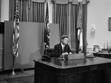 President John F. Kennedy is shown as he started his radio-television address to the nation on civil rights, June 11, 1963 in Washington.CHARLES GORRY/AP