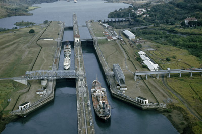 The canal today:  freighters pass through the Miraflores Locks. Kip Ross/National Geographic/Getty Images