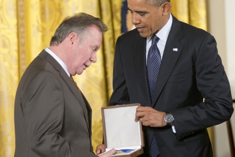 Bayard Rustin's partner Walter Naegle accepting the medal from President Obama. (Photo by Patsy Lynch)